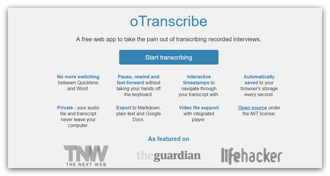 OTranscribe for interviews