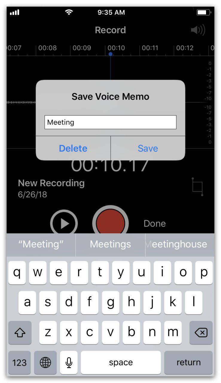 Save voice memo