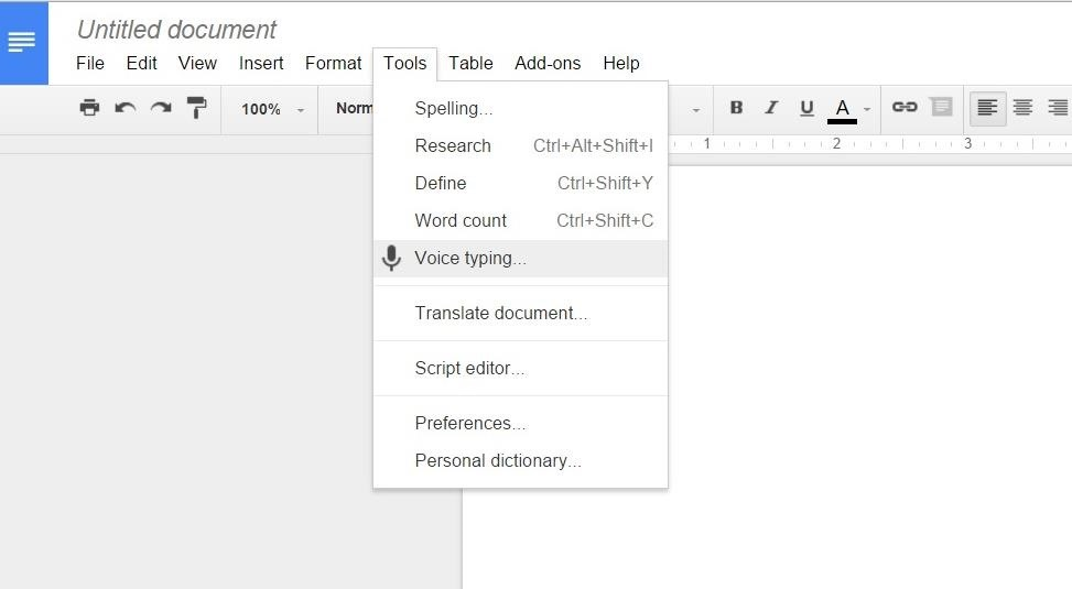 voice typing google docs