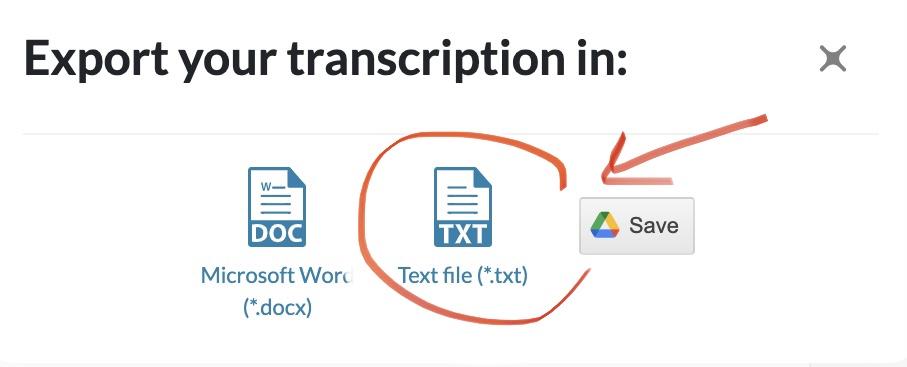 export your transcription